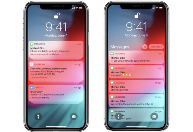 You can have your notifications grouped (left)—press your finger to expand a group (right).