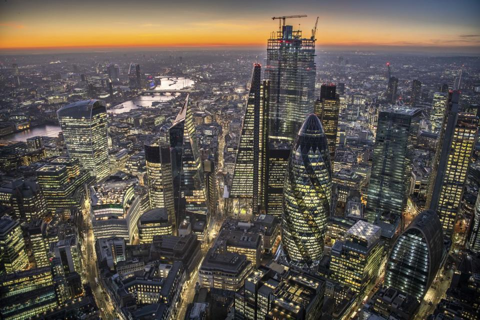 The City of London at dusk. (Photo: Jason Hawkes/Caters News)