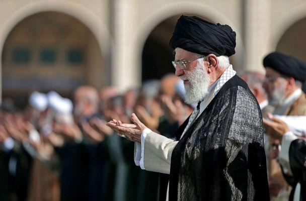 PHOTO: A handout picture provided by the Iranian supreme leader office on June 5, 2019, shows the Ayatollah Ali Khamenei, leading the Eid al-Fitr prayer at the Imam Khomeini Mausoleum in Tehran to mark the end of the Muslim fasting month of Ramadan. (Iranian Supreme Leader's Website via AFP/Getty Images, FILE )