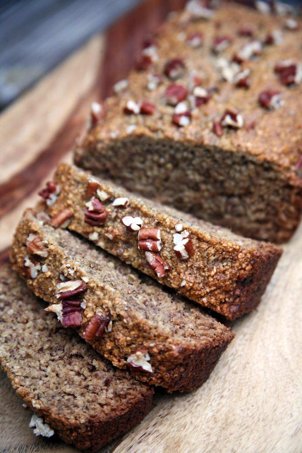 "<p>This moist and filling banana bread is just begging to be smeared with peanut butter! </p> <p><strong>Calories:</strong> 147 per slice<br> <strong>Protein:</strong> 7 grams</p> <p><strong>Get the recipe:</strong> <a href=""https://www.popsugar.com/fitness/Gluten-Free-Banana-Bread-42294709"" class=""link rapid-noclick-resp"" rel=""nofollow noopener"" target=""_blank"" data-ylk=""slk:vegan gluten-free banana bread"">vegan gluten-free banana bread</a></p>"