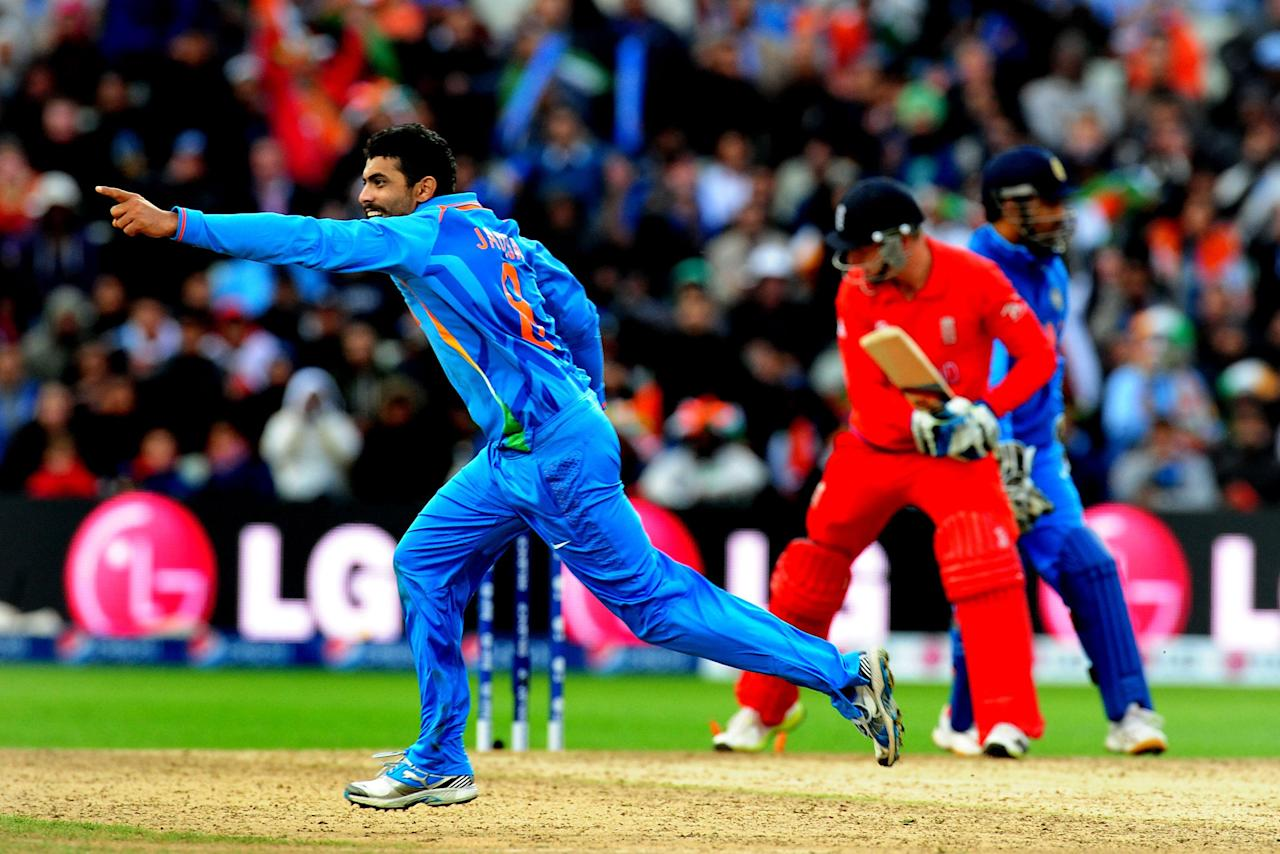 India's Ravindra Jadeja celebrates taking the wicket of England's Jos Buttler during the ICC Champions Trophy Final at Edgbaston, Birmingham.