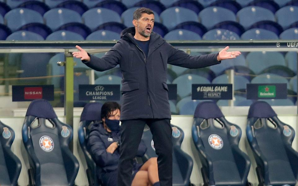 Porto's head coach Sergio Conceicao gestures during the Champions League group C soccer match between FC Porto and Manchester City at the Dragao stadium in Porto - AP