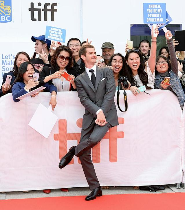 <p>Can you tell that these fans were excited to see Spider-Man in the flesh? Actually, the actor appeared at the Toronto International Film Festival for the premiere of his upcoming romantic drama, <i>Breathe</i>, but they didn't let that get in the way of their happiness. (Photo: Tara Ziemba/WireImage) </p>