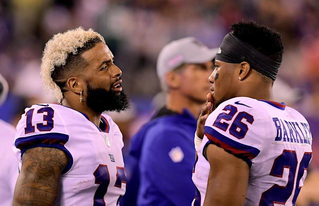 Odell Beckham Jr. and Saquon Barkley look to turn the Giants around from a 1-5 start as they face the Atlanta Falcons on Monday night. (Getty Images)
