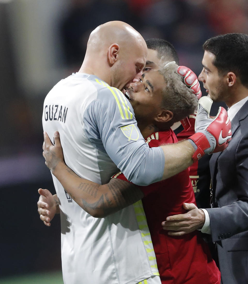 Atlanta United's Brad Guzan and Josef Martinez will be looking for revenge against the New York Red Bulls on Sunday when MLS's Eastern Conference final begins. (AP/John Bazemore)