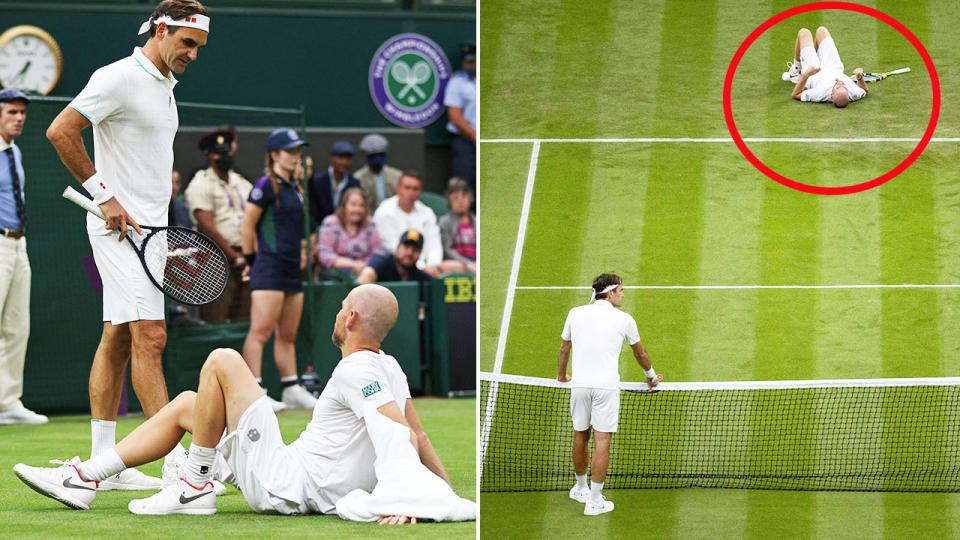 Roger Federer, pictured here after Adrian Mannarino suffered a brutal injury.