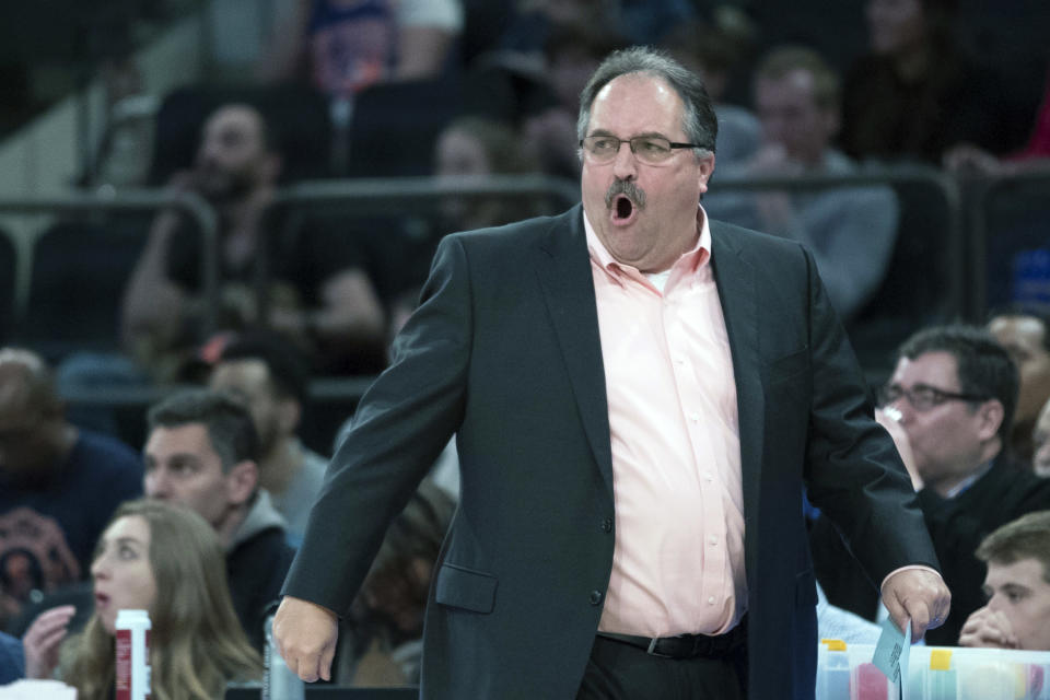 FILE - In this March 31, 2018, file photo, Detroit Pistons head coach Stan Van Gundy reacts during the first half of an NBA basketball game against the New York Knicks, at Madison Square Garden in New York. Two people with knowledge of the situation say Stan Van Gundy has agreed to become the next coach of the New Orleans Pelicans, where he'll get the chance to work with No. 1 overall draft pick Zion Williamson. Van Gundy agreed to a four-year contract, according to one of the people who spoke Wednesday, Oct. 21, 2020, to The Associated Press on condition of anonymity because the hiring has not been announced. (AP Photo/Mary Altaffer, File)