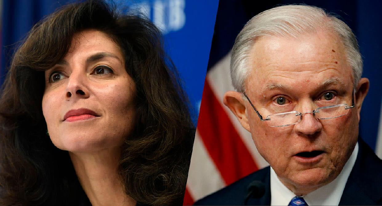 Judge Ashley Tabaddor and Attorney General Jeff Sessions. (Photos: Susan Walsh/AP, Charlie Riedel/AP)