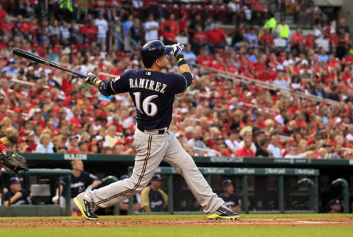 Milwaukee Brewers' Aramis Ramirez watches his solo home run during the second inning of a baseball game against the St. Louis Cardinals on Friday, Aug. 1, 2014, in St. Louis. (AP Photo/Jeff Roberson)