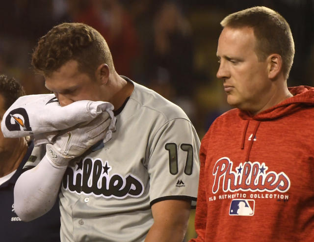 A Wednesday CAT scan reportedly revealed that Rhys Hoskins broke his jaw when he fouled a ball into his face on Monday, an injury he pinch-hit with on Tuesday. (AP)