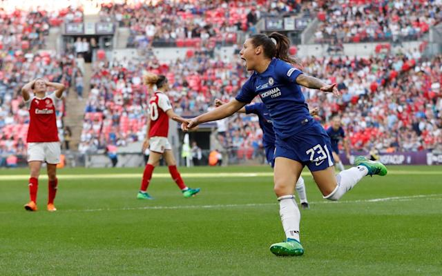 "Latest score: Arsenal 1 (Miedema 74) Chelsea 3 (Bachmann 48, 60, Kirby 76) 7:18PM 90 min Cuthbert earns a Chelsea free-kick right in the corner, which they sensibly play short. Five minutes of added time. 7:16PM 87 min Arsenal summoning the kitchen sink to throw at Chelsea, but the Blues look rock solid from their midfield backwards. 7:12PM 83 min Double change for Arsenal: on come Dan Carter and Katie McCabe in the final throw of Joe Montemurro's dice - Emma Mitchell and Lisa Evans make way. For Chelsea, on comes Eni Aluko for two-goal Ramona Bachmann, who gets a deserved ovation. 7:05PM GOAL! Arsenal 1 Chelsea 3 (Kirby 76 min) What a lovely goal! Fran Kirby, who has threatened to do something special all afternoon, finds a pocket of space on the edfge of the box and bends a perfect left-foot shot into the far corner! Game, surely now, over. 7:03PM 75 min Chelsea change: Erin Cuthbert replaces the tireless Drew Spence. 7:02PM GOAL! Arsenal 1 (Miedema) Chelsea 2 HELLO! Beth Mead sneaks in from the left, finds Vivianne Miedema and the Dutchwoman steers a left-foot shot past Lindahl! Game on? 6:58PM 70 min Chelsea change: on comes Maria Thorisdottir to replace Jonna Andersson on the left of defence. 6:56PM 68 min Chelsea looking to slow the game down, use the space and exploit those tiring Arsenal legs that are chasing this game. Really hard to see the Gunners getting back into this now. 6:52PM 63 min Change for Arsenal: off goes Janssen, the holding midfielder, and on comes 231-cap former USA international Heather O'Reilly. Experienced? Just a bit. 6:48PM GOAL! Arsenal 0 Chelsea 2 (Bachmann, 60 min) Out of nothing, Chelsea have doubled their lead! Ramona Bachmann cuts in from the right, swipes her left boot at the ball and it deflects up and into the far corner! 6:44PM 56 min CHANCE! Kim Little charges through the middle, finds Miedema, but the Dutch international doesn't get her shot away in time. 6:42PM 53 min Danielle van de Donk takes out Chelsea skipper Katie Chapman, which sparks the first minor disagreement of the match. Chelsea force a corner from the long, searching free kick, which Arsenal clear. 6:39PM 51 min Arsenal respond. Beth Mead's deflected shot squirms towards Hedvig Lindahl, who spills it before its put behind for a corner. Chelsea survive. 6:36PM GOAL! Arsenal 0 Chelsea 1 (Bachmann, 48 min) Bachmann leads a Chelsea counter, but Emma Mitchell has just enough pace to hold off Kirby. From the throw-in, the ball is slipped into Bachmann on her right foot, she takes one touch to gather, another to set up the shot, and she lashes the ball into the roof of the net! 6:33PM We go again Not sure if the tempo of the first half can prevail in the May sunshine, but we'll see... 6:19PM Half time A free-flowing first half, but one in which Arsenal failed to muster a single shot on target. For Chelsea, Bachmann and Kirby - and, to a increasing extent, Ji - have had a huge influence up front, but still haven't made Van Veenendaal work too hard in the Arsenal goal. Something has to give in the second half...or extra time....or penalties. 6:17PM 45 min +1 One added minute. 6:16PM 45 min CHANCE! The best move of the half, involving Bachmann and Kirby, leads to Ji racing through on the overlap and slapping a shot just over the Arsenal bar. 6:15PM 44 min More intricate Chelsea interplay on the edge of the box leads to Ji So-yun being fouled by Dominique Janssen. Magdelena Eriksson and Ji stand over the ball....the Korean takes...but it hits the wall, and Van Veenendaal gathers her tame second bite at the cherry. 6:11PM 40 min Where now? Thoughts might start to turn to the respective benches: Arsenal have the 2016 final goalscorer Dan Carter in reserve, while Chelsea have Eni Aluko ready to come on at some point. Both are capable of locating the scruff of this game's neck. 6:05PM 35 min Decent atmosphere at Wembley: WEMBLEY IS ROCKING ����#ssewomensfacuppic.twitter.com/pz7g1AEZKX— The SSE Women's FA Cup (@SSEWomensFACup) May 5, 2018 6:04PM 32 min Kirby tries a one-two with Hannah Blundell, who advances all the way from right back to join in, but the return pass is just out of reach. The Chelsea no.14 looks the most likely to break the deadlock, it's fair to say. 6:01PM 30 min Wembley enjoying a Mexican wave, as the first half peters out a little. Bachmann and Kirby try to combine again, but Arsenal are alert. 5:58PM 27 min Another sight of goal for Kirby, who lets fly with the left foot, but it's gathered well by Van Veenendaal. 5:56PM 25 min Bachmann skips down the right, only to be dragged back quite blatantly by Emma Mitchell. It should be a yellow card, but instead is just a talking-to. Lenient stuff from the Durham official. 5:54PM 23 min Drew Spence flattens Miedema with a tasty tackle on halfway, which the referee stands and admires. Chelsea have weathered this brief Arsenal storm quite well. 5:52PM 20 min Arsenal skipper Kim Little clips in a cross to the back post, which is helped on its way behind by a Chelsea head - corner. Nobbs floats it in, there's a brief scramble, and then Miedema's shot is deflected just wide! 5:49PM 18 min CHANCE! A cross from the left is eventually brought under control by Kirby in the Arsenal area, but she dallies too long and the shot is blocked. Chelsea have now had three presentable chances and squandered them all. 5:46PM 14 min The ball bounces over the head of Millie Bright, and Arsenal's Beth Mead can run through on goal...until she's caught by Bright and held up. An anxious moment for the Chelsea no.4. 5:43PM 12 min Frank Kirby is now, suddenly, running this final for Chelsea. She twists and turns in the Arsenal area, but has only Bachmann for support and Arsenal scramble it away. 5:41PM 9 min CHANCE! Bachmann works the ball superbly on to her right foot in the area, nutmegging Emma Mitchell in the process, but fires wide with only Sari van Veenendaal to beat! 5:39PM 7 min Arsenal's Vivianne Miedema presses earnestly to unnerve the Chelsea defence into a mistake in their own half, but blue shirts scamper back to avoid a real emergency. Arsenal certainly looking more dangerous so far... 5:36PM 5 min Chelsea's turn to attack, with Drew Spence down the right, but she can't find a blue shirt in the middle. Plenty of space to exploit for both sides in the wide areas. 5:34PM 2 min Both teams enjoy some nerve-settling spells on the ball, before Arsenal look to release the pace of Beth Mead down the left. Chelsea deal with the early threat. 5:32PM Kick off! Chelsea - in blue, naturally - get us going and Ramona Bachmann gets the first touch of the 2018 final... 5:26PM The teams are out at Wembley... ...so a few dignitaries, handshakes, the national anthem and all that, and we'll soon be good to go! 5:23PM Arsenal manager Joe Montemurro: Obviously our tradition as cup specialists is there - thanks for the pressure! - but cup finals are cup finals, and it's on the day. We've been part of many fantastic events, and hopefully this is another one. Chelsea are a very good side, with cover and power all over the pitch, and whatever starting XI they put out is very strong. Some of the best players in the world are out there on show, and it's going to be an amazing event. 5:23PM Emma Hayes' pre-match words: This is what we work hard for, when you're freezing cold in January and you don't want to come out training. I'm proud of the players, and equally to think we're playing in front of a record crowd, which importantly shows the growth of the game. Our side is experienced and accustomed to high-level games on a regular basis, both internationally and at club level. But it counts for nothing in a single game. It's whoever shows up on the day. 5:10PM Recent decent Here's what happened when these two last met in the Cup final at Wembley - just 24 months ago, in fact. An absolute pearler from Arsenal's Dan Carter decided matters that day: 4:59PM Road to the final Arsenal Fourth Round: beat Yeovil 3-0 Fifth Round: beat Millwall 1-0 Quarter-final: beat Charlton 5-0 Semi-final: beat Everton 2-1 Arsenal and Chelsea reached the final by a combined aggregate score of 32-1 Credit: PA Chelsea Fourth Round: beat London Bees 10-0 Fifth Round: beat Doncaster Rovers Belles 6-0 Quarter-final: beat Liverpool 3-0 Semi-final: beat Manchester City 2-0 4:46PM Team news! Arsenal: Van Veenendaal, Evans, Williamson, Quinn, Mitchell, Janssen, Van de Donk, Little, Nobbs, Mead, Miedema. Subs: Moorhouse, Samuelsson, McCabe, O'Reilly, Carter. Chelsea: Lindahl, Bright, Mjelde, Eriksson, Blundell, Ji, Chapman, Andersson, Spence, Kirby, Bachmann. Subs: Telford, Thorisdottir, Flaherty, Aluko, Cuthbert. Referee: Lindsey Robinson 4:46PM The lowdown London rivals Arsenal and Chelsea go head to head today at Wembley in the 2018 Women's FA Cup Final. Arsenal are looking for a 15th FA Cup victory while Chelsea, in their fourth final to date, are aiming for revenge for defeat to the Gunners in 2016. More importantly, though, the Blues are on course for a league and cup double: they are three points clear at the top of the Women's Super League, while Arsenal trail in fourth. The two teams will be playing in front of a record-breaking Wembley crowd: more than 45,000 tickets have been sold, an all-time best for the Women's FA Cup. Emma Hayes is carrying twins, and will take a background role at Wembley Credit: CHELSEA FC Chelsea's manager Emma Hayes has opted not to lead her team out of the tunnel but, despite being 33 weeks pregnant with twins, will be pitchside to organise her players. ""I've been told to take it easy and there is enough stress on the day already. Physically, it's uncomfortable for me at the moment so it's better that I stay in the background,"" says Chelsea's manager. ""It's better for my babies if I sit down. I don't mind, I'm a woman, I don't have a big ego!"" Kick-off at the national stadium is at 5.30pm, with coverage on BBC One from 5.10pm and, of course, our liveblog right here."