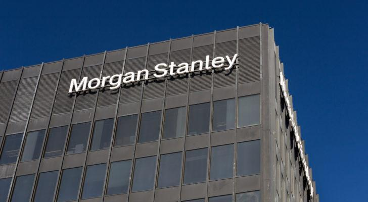 Image of a building with Morgan Stanley (MS) on top of it.