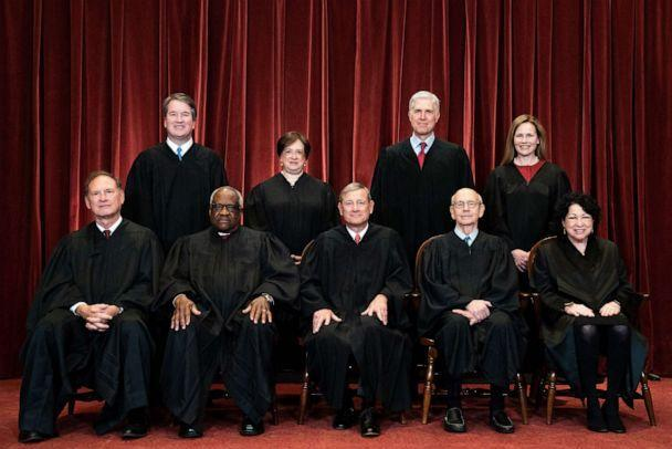 PHOTO: Justices at the Supreme Court in Washington, D.C. on April 23, 2021. (Erin Schaff/POOL/AFP via Getty Images)