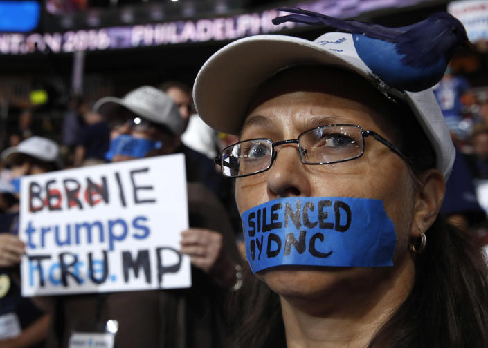A Sanders supporter demonstrates against the Democratic establishment, July 2016. (Jim Young/Reuters)