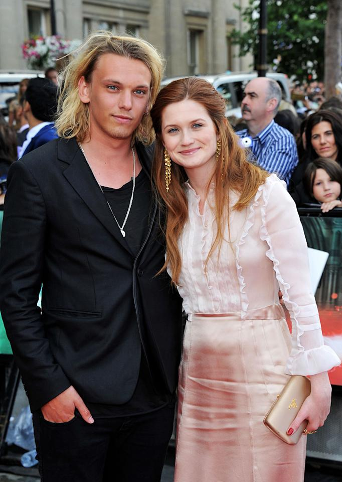 """<a href=""""http://movies.yahoo.com/movie/contributor/1809963627"""">Jamie Campbell Bower</a> and <a href=""""http://movies.yahoo.com/movie/contributor/1808408966"""">Bonnie Wright</a> at the London world premiere of <a href=""""http://movies.yahoo.com/movie/1810004624/info"""">Harry Potter and the Deathly Hallows - Part 2</a> on July 7, 2011."""