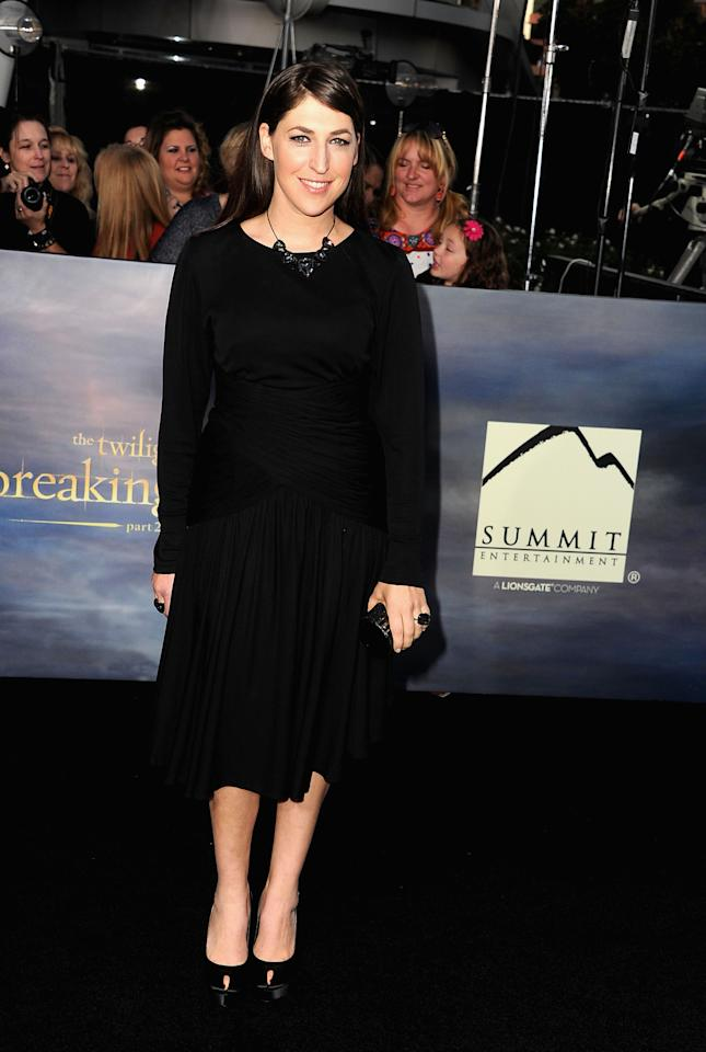 "Mayim Bialik arrives at ""The Twilight Saga: Breaking Dawn - Part 2"" Los Angeles premiere at Nokia Theatre L.A. Live on November 12, 2012 in Los Angeles, California.  (Photo by Steve Granitz/WireImage)"