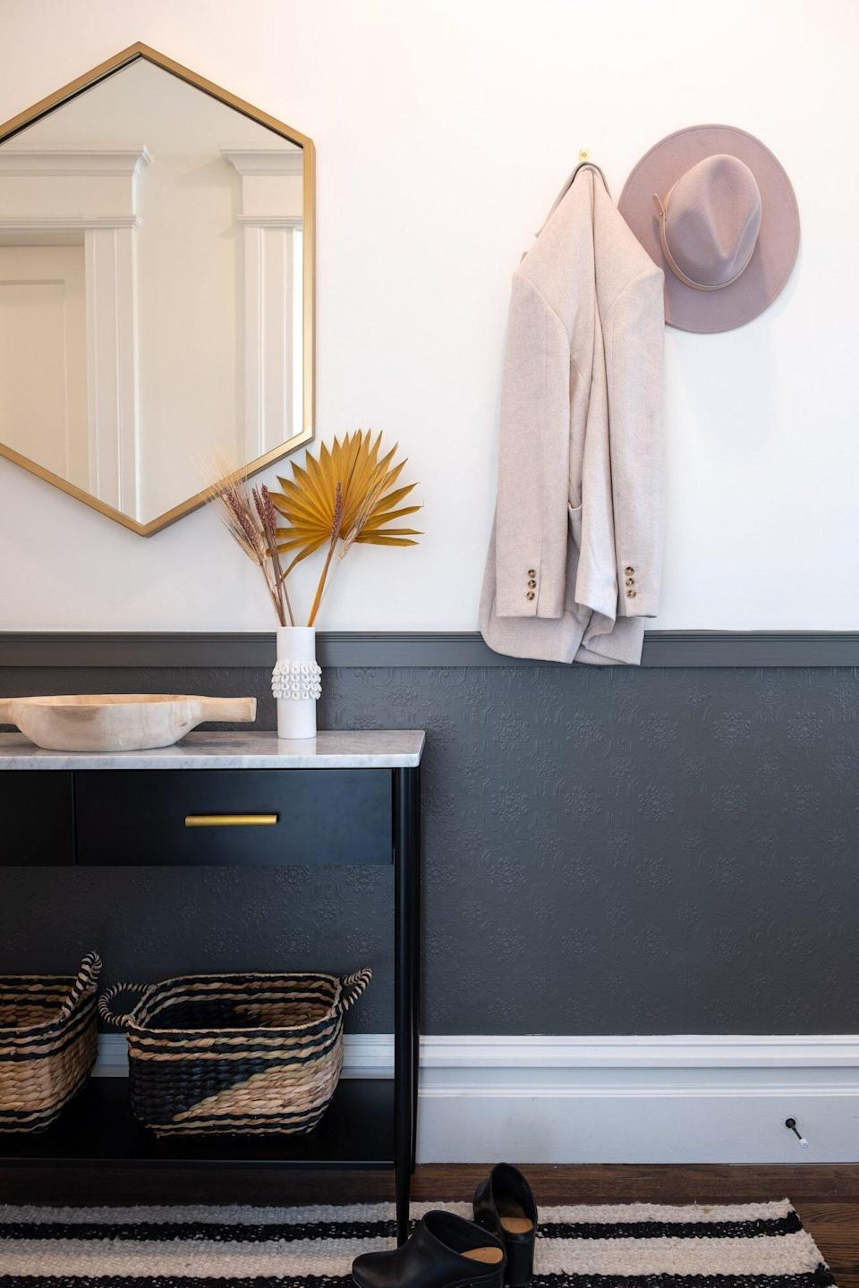 Black and White Entryway Wainscoting