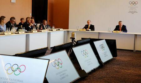 International Olympic Committee (IOC) President Thomas Bach (R) and other members attend an Executive Board meeting of the IOC in Lima, Peru September 11, 2017. REUTERS/Mariana Bazo