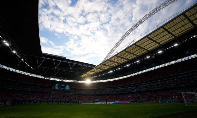 A general view of the pitch during the UEFA EURO 2020 round of 16 football match between Italy and Austria at Wembley Stadium in London on June 26, 2021. (Photo by Frank Augstein / POOL / AFP) (Photo by FRANK AUGSTEIN/POOL/AFP via Getty Images) (Photo: FRANK AUGSTEIN via POOL/AFP via Getty Images)