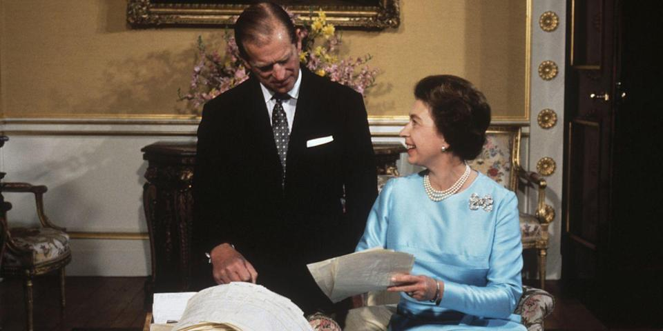 <p>Prince Philip and Queen Elizabeth sort through a basket of mail together on the occasion of their 25th wedding anniversary.</p>