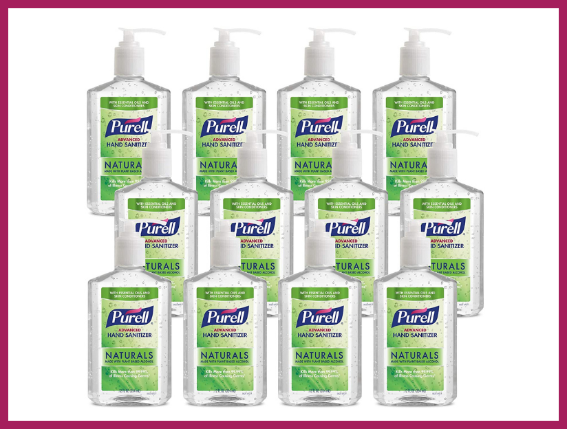 Purell Naturals Advanced Hand Sanitizer Gel, with Skin Conditioners and Essential Oils, 12-ounce, Counter Top Pump Bottle (12-pack). (Photo: Amazon)