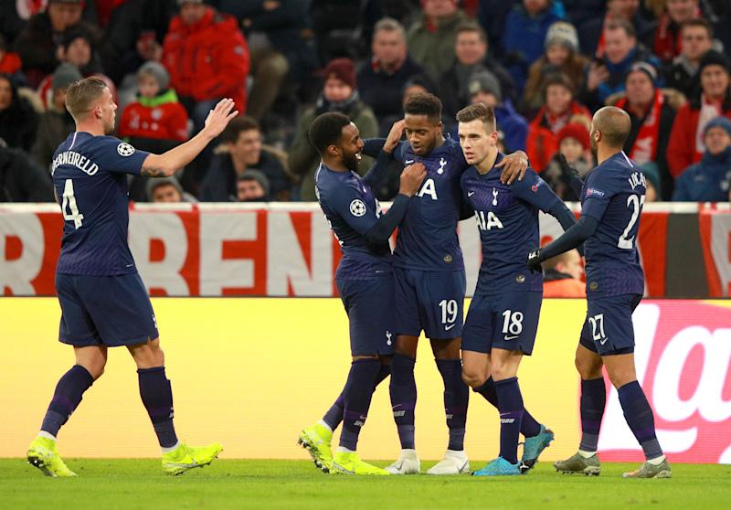 MUNICH, GERMANY - DECEMBER 11: Ryan Sessegnon of Tottenham Hotspur celebrates with teammates after scoring his team's first goal during the UEFA Champions League group B match between Bayern Muenchen and Tottenham Hotspur at Allianz Arena on December 11, 2019 in Munich, Germany. (Photo by Adam Pretty/Bongarts/Getty Images)