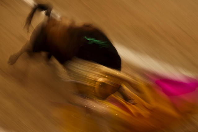 <p>Spanish bullfighter Uceda Leal performs during the San Isidro fair in Madrid, May 27, 2014. (Photo: Daniel Ochoa de Olza/AP) </p>