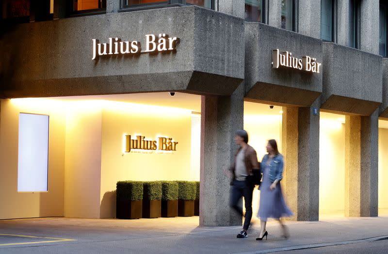 FILE PHOTO: Logo is seen at the headquarters of Swiss private bank Julius Baer in Zurich