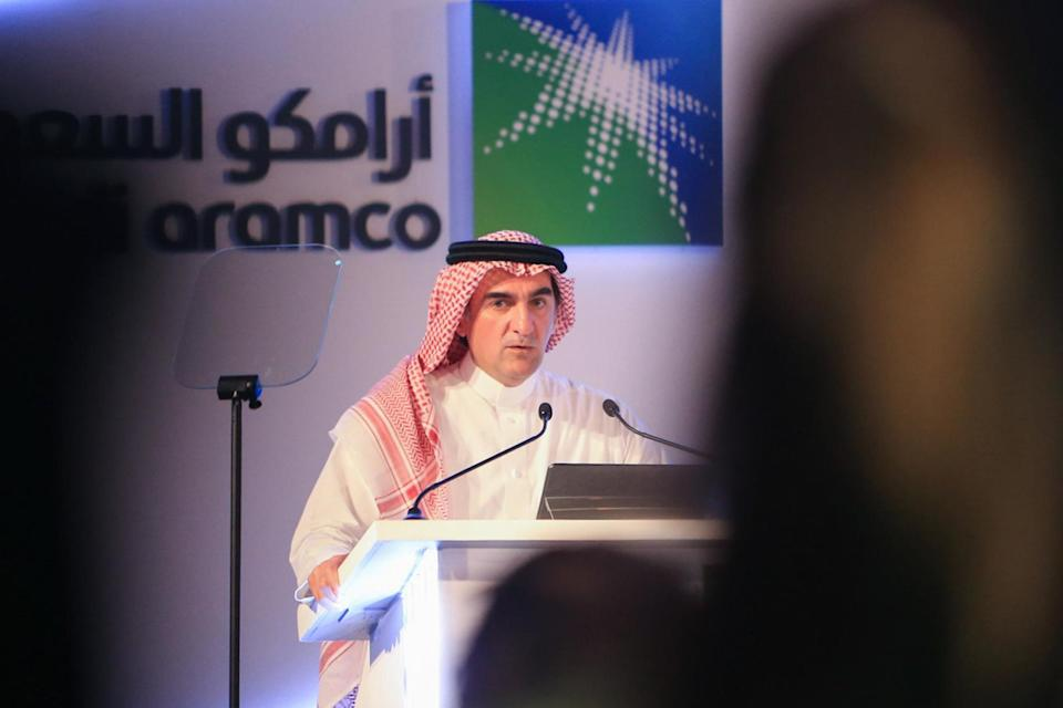 Rumayyan speaking at a Saudi Aramco press conference, which is regularly described as the world's most profitable company: AFP/Getty