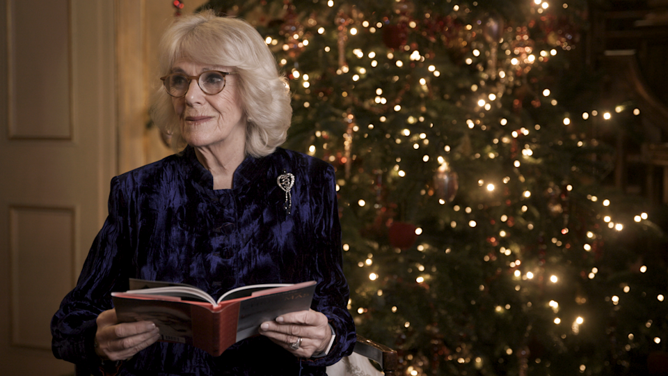 Camilla reads a part of the famous festive poem (Clarence House/PA)