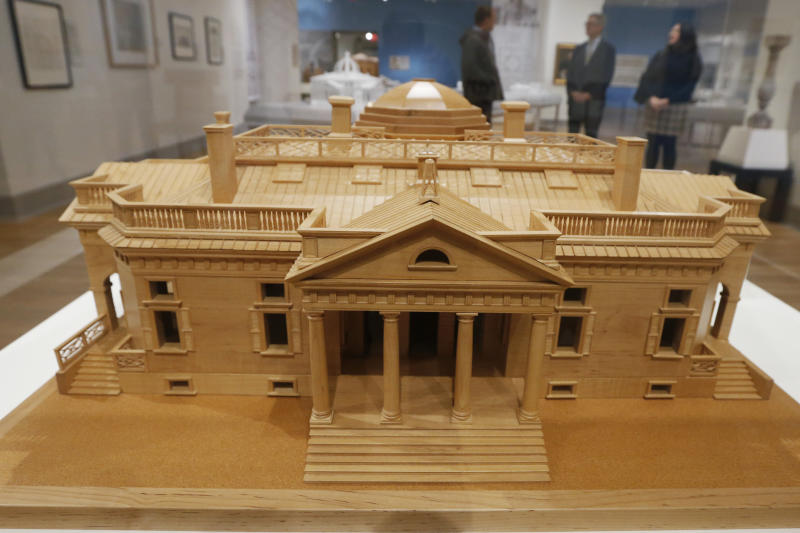 "A model Monticello by Thomas Jefferson is part of an exhibit entitled ""Thomas Jefferson, Architect: Palladian Models, Democratic Principles, and the Conflict of Ideals."" At the museum in Norfolk, Va., Wednesday, Oct. 16, 2019. (AP Photo/Steve Helber)"