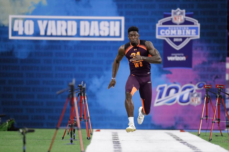 Mississippi wide receiver D.K. Metcalf runs the 40-yard dash during the NFL scouting combine. (AP)