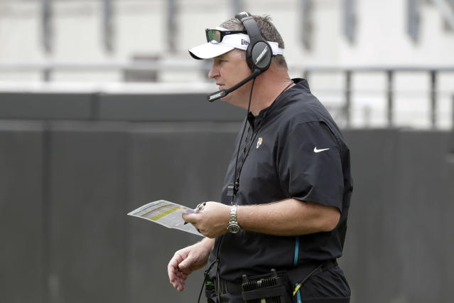 Jacksonville Jaguars head coach Doug Marrone watches his players on the field during an NFL football practice at the teams stadium, Friday, Aug. 2, 2019, in Jacksonville, Fla. (AP Photo/John Raoux)