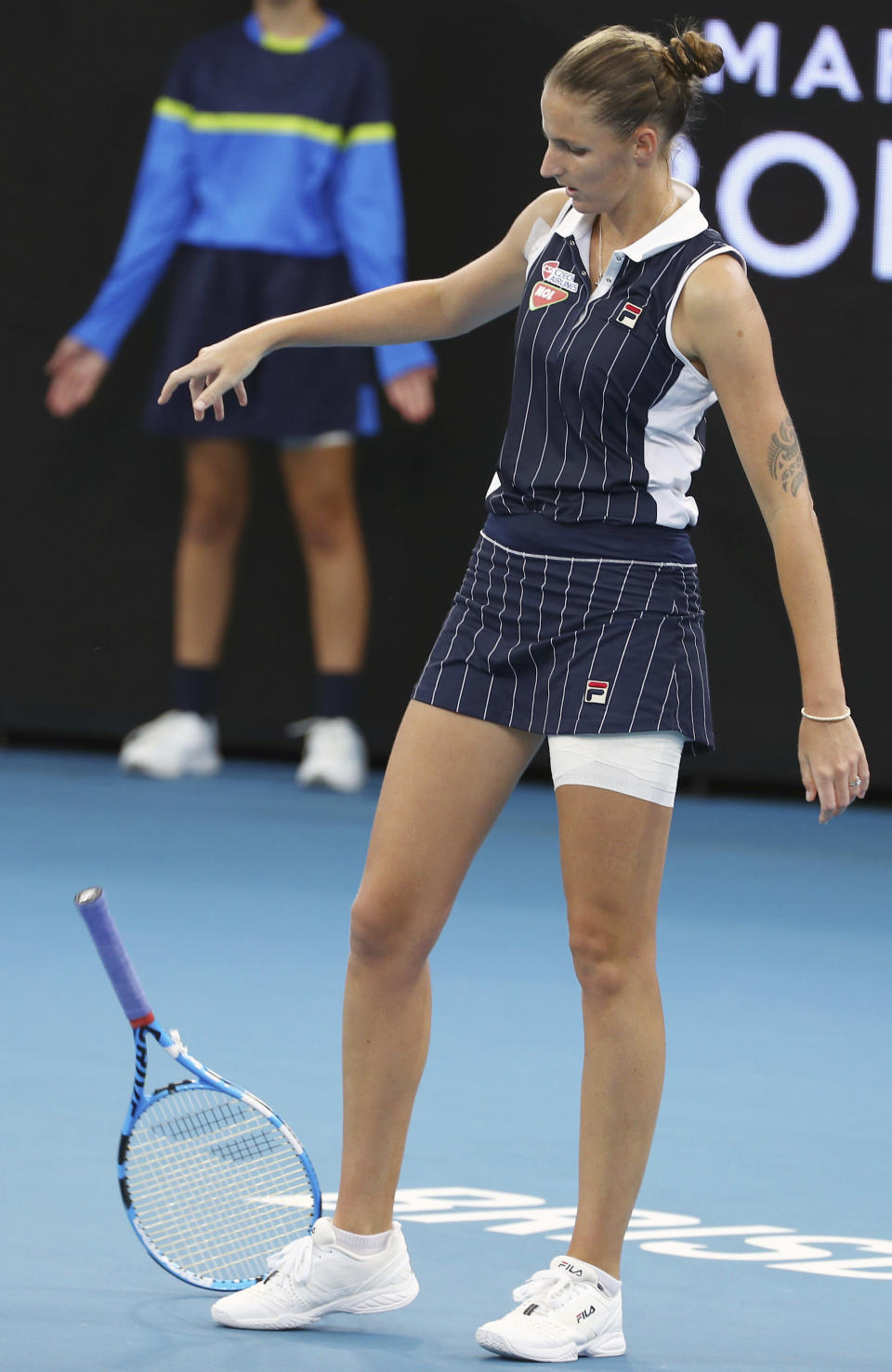 Karolina Pliskova of the Czech Republic throws her racket to the ground after she missed a shot during her final match against Madison Keys of the United States at the Brisbane International tennis tournament in Brisbane, Australia, Sunday, Jan. 12, 2020. (AP Photo/Tertius Pickard)