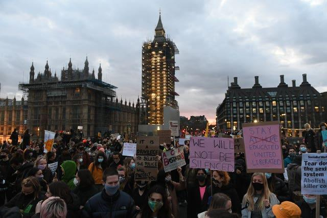 Demonstrators during a protest on Westminster Bridge