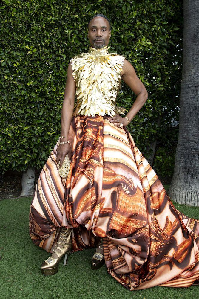 <p>The actor wore a dress inspired by Prince William and Kate Middleton's home to the Oscars and officially brought a bit of royalty to the red carpet. </p><p>'The Oscars are a royal event, so naturally we took inspiration from Kensington Palace. I'm officially a Queen with a KW,' he wrote on Instagram. </p><p>The Giles Deacon-designed outfit was made up of a phoenix-inspired feathered gold metallic turtleneck top, an orange skirt, printed with medieval armour, Jimmy Choo heels and Swarovski jewellery. </p>
