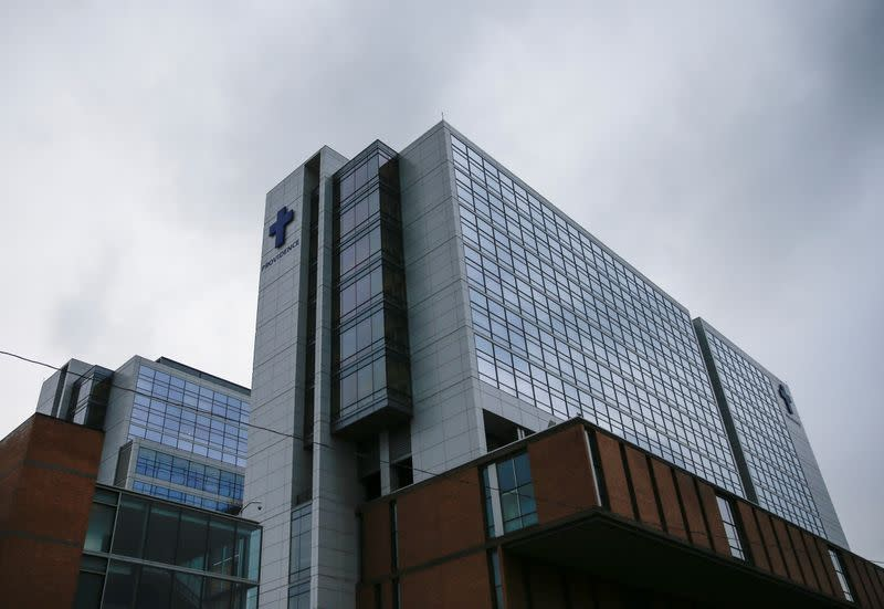 The main building of the Providence Regional Medical Center is pictured after coronavirus victim treated in Everett