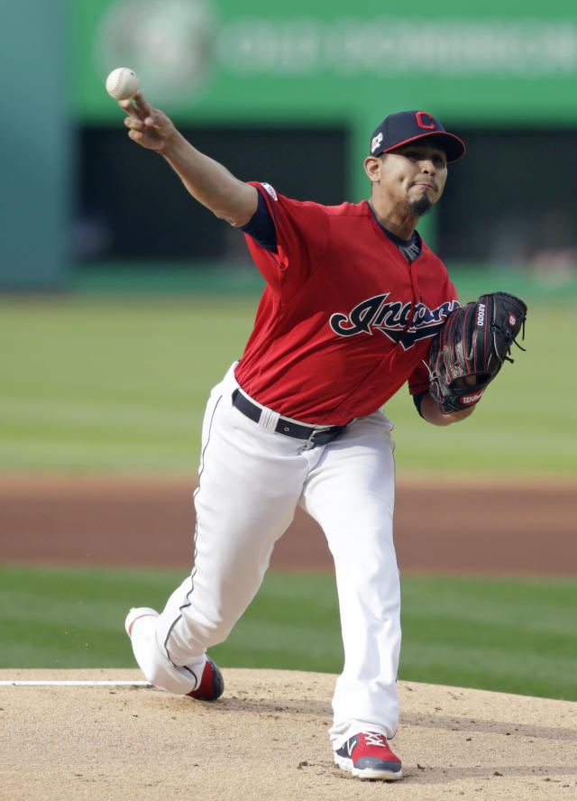 Cleveland Indians starting pitcher Carlos Carrasco delivers in the first inning of a baseball game against the Miami Marlins, Tuesday, April 23, 2019, in Cleveland. (AP Photo/Tony Dejak)
