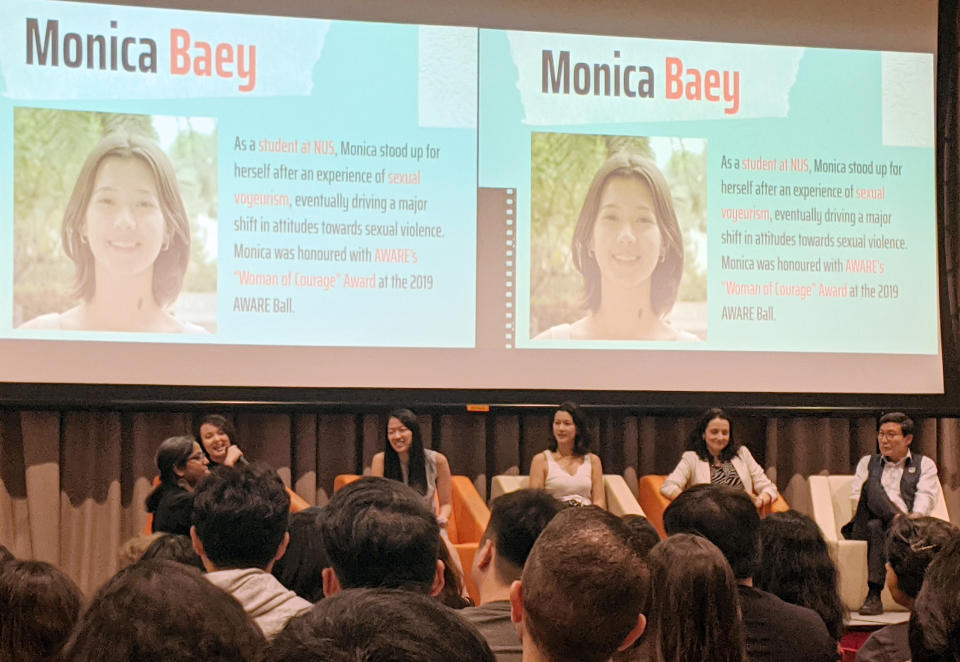 From left to right: Sexual Assault Care Centre senior case manager Lim Xiu Xuan, lawyer Priscilla Chia, advocate Monica Baey, Head of Safety Policy, APAC at Facebook Amber Hawkes and Society Against Family Violence president Benny Bong at the panel discussion on 25 November, 2019. (PHOTO: Yahoo News Singapore)