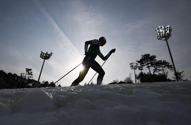 <p>Sweden's Daniel Rickardsson competes during the men's 4x10kms classic freestyle cross country relay at the Alpensia cross country ski centre during the Pyeongchang 2018 Winter Olympic Games on February 18, 2018 in Pyeongchang. / AFP PHOTO / FRANCK FIFE </p>