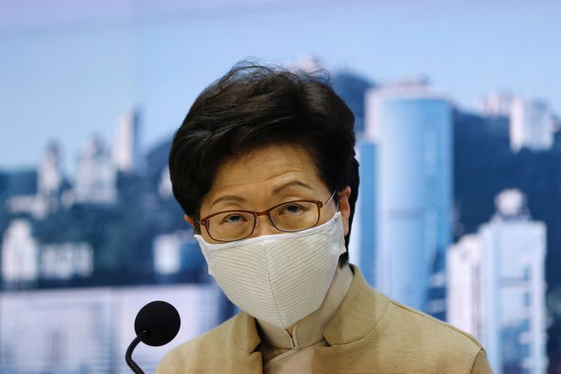 Hong Kong's Chief Executive Carrie Lam attends a news conference after four pan-democratic legislators were disqualified when China passed a new resolution in Hong Kong
