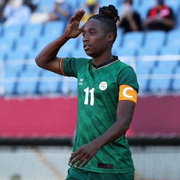 Zambia's Barbra Banda made history by becoming the first female soccer player to ever score back-to-back hat tricks at the Olympics in her team's 4-4 draw with China on Saturday. (@FIFAWWC/Twitter - image credit)