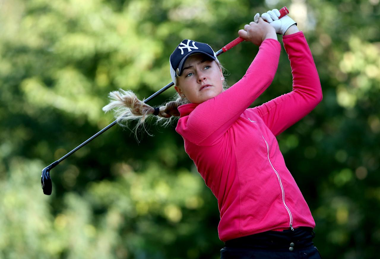 EDMONTON, AB - AUGUST 22: Charley Hull of England hits her tee shot on the sixth hole during the CN Canadian Women's Open at Royal Mafair Golf Club on August 22, 2013 in Edmonton, Alberta, Canada. (Photo by Stephen Dunn/Getty Images)