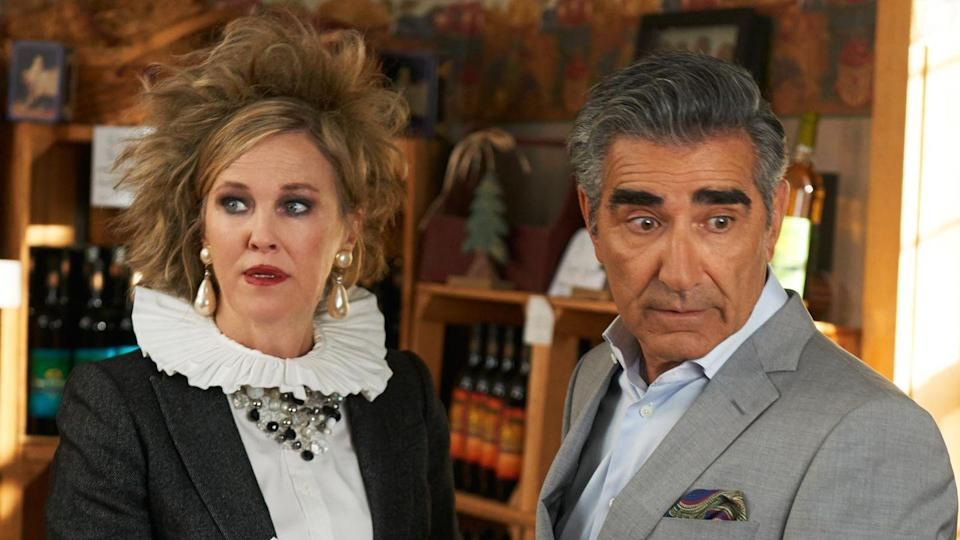 """<p>Watch <em>Schitt's Creek</em>, and join a fandom. The Canadian sitcom has amassed a devoted following since it premiered in 2015. In the riches-to-rags story, the Rose family has to move to a tiny town of Schitt's Creek after losing their entire fortune. </p><p><a class=""""link rapid-noclick-resp"""" href=""""https://www.netflix.com/search?q=kim%27s+convenience&jbv=80036165&jbp=3&jbr=0"""" rel=""""nofollow noopener"""" target=""""_blank"""" data-ylk=""""slk:Watch Now"""">Watch Now</a></p>"""