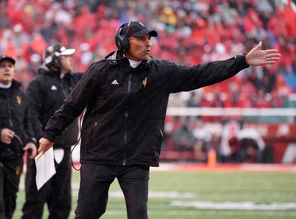 Oct 19, 2019; Salt Lake City, UT, USA; Arizona State Sun Devils head coach Herm Edwards reacts in the first quarter against the Utah Utes at Rice-Eccles Stadium. Mandatory Credit: Kirby Lee-USA TODAY Sports