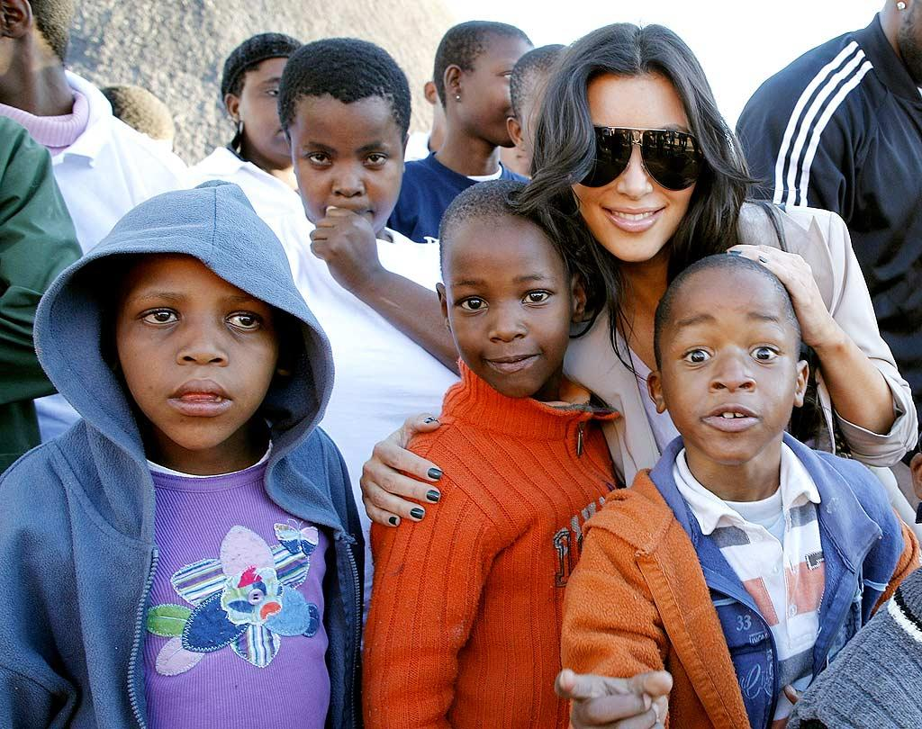 "Kim Kardashian traveled to Botswana with boyfriend Reggie Bush and sister Khloe to raise awareness of how the diamond industry helps Africans. Jemal Countess/KK/<a href=""http://www.gettyimages.com/"" target=""new"">Getty Images for Diamond Empowerment Fund</a> - July 14, 2009"
