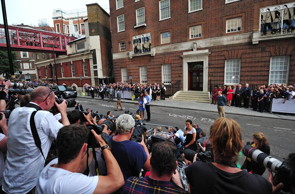 The media outside the Lindo Wing following Prince George's birth in 2013 [Photo: Getty]