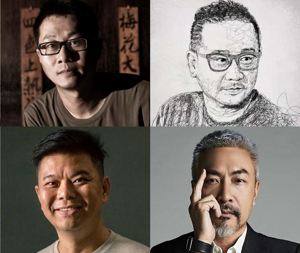 Singaporean directors in Clover Films and iQiyi's partnership (clockwise from top left): Kelvin Tong, Melvin Mak, Tay Ping Hui and Ong Kuo Sin. (Photos: Clover Films)