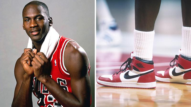 Michael Jordan is pictured to the left of a 50/50 split image, next to a close-up of his signature 'Air Jordan' shoes.
