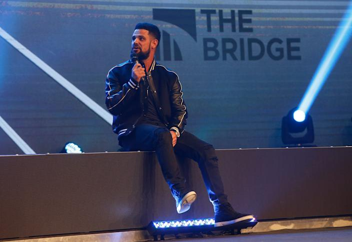 """Pastor Steven Furtick, from Elevation Church in Charlotte, N.C., spoke at Greenville's Relentless Church during the event """"The Bridge - A Conversation on Race, Politics, Culture and the Role of the Church"""" Wednesday, Nov. 14, 2018."""